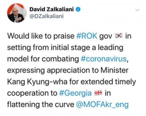 D. Zalkaliani expresses his gratitude towards the Republic of Korea for the support provided within the framework of the fight against the pandemic