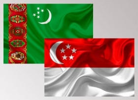 The official greeting ceremony of the President of Turkmenistan in Singapore