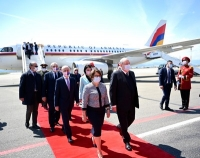 Armenian President Armen Sarkissian arrives in Tbilisi