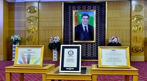 International Cyclists Union awards Turkmen leader with the Certificate of Appreciation