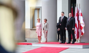 The Official Welcoming Ceremony of the President of the Republic of Latvia Is Held at the Presidential Palace