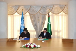 The ceremony of signing a joint program with the UN was held at the MFA of Turkmenistan