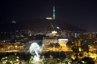 Tbilisi TV tower shines with colours of Turkmen flag